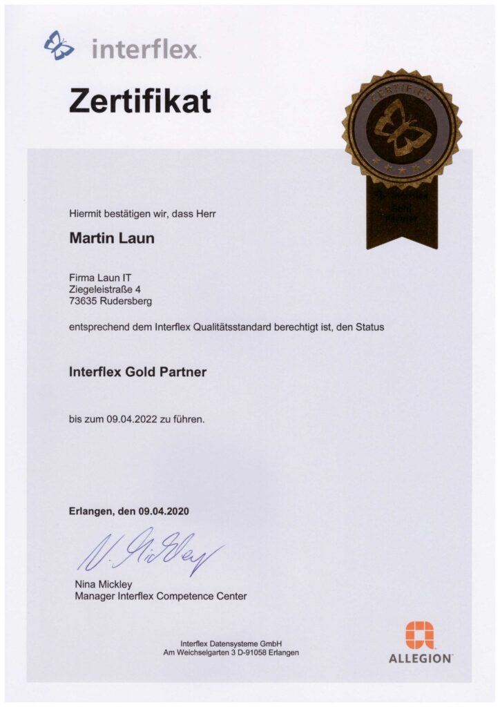 Laun IT Interflex Gold Partner 2020